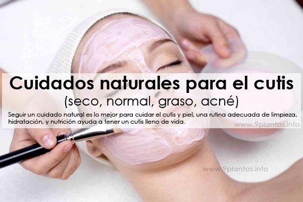 Cuidados naturales para el cutis (seco, normal, graso, acné), plantas según tipo de piel