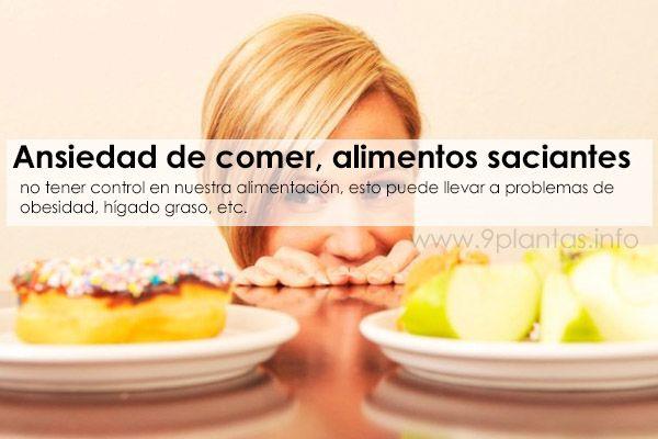 Ansiedad de comer, alimentos saciantes